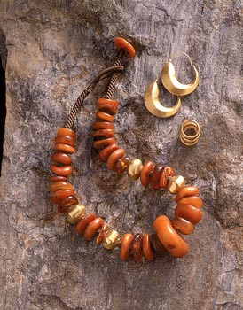 Antique Amber and Gold Necklace
