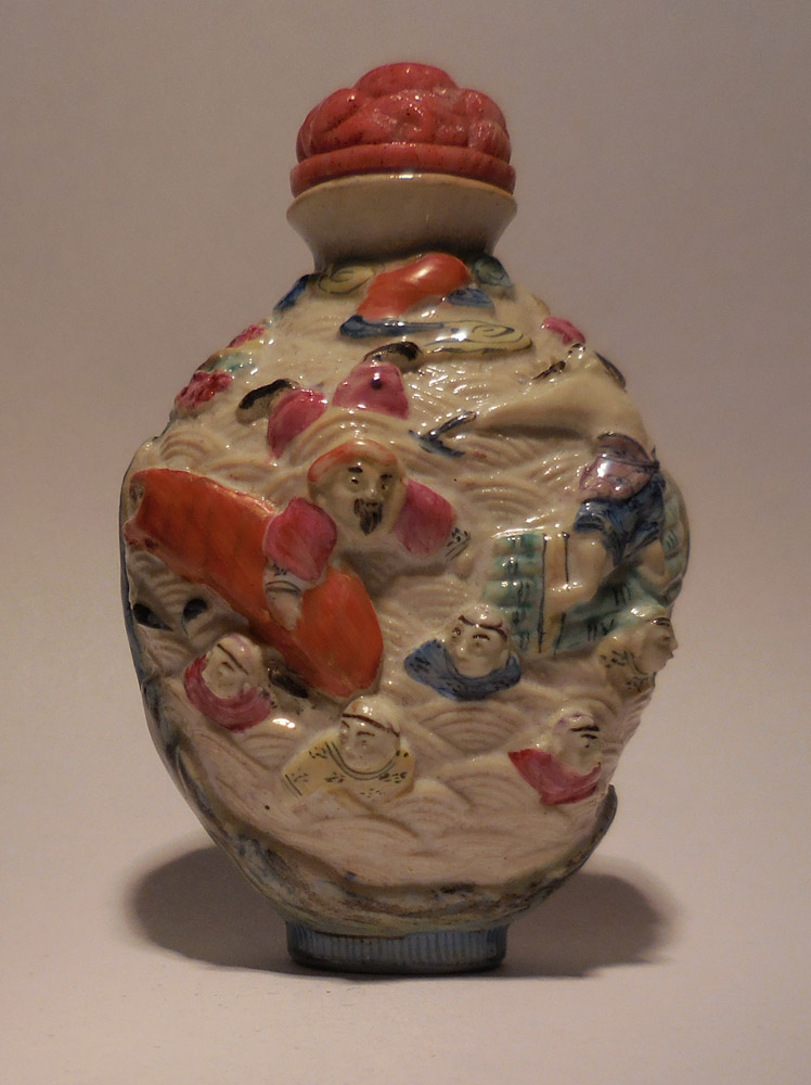 "Porcelain Snuff Bottle decorated with scene from the ""Great Flood"""