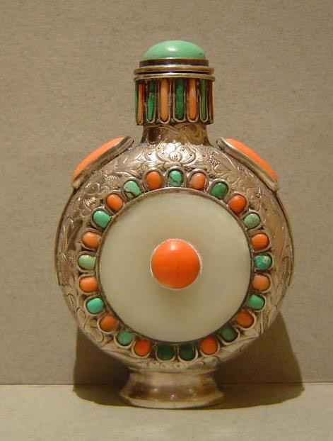 Mongolian silver and white jade snuff bottle with turquoise and coral